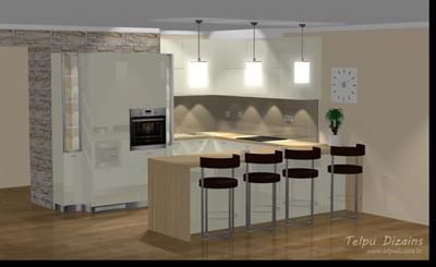 Interjera dizains virtuvei un viesistabai jaunajā projektā Bērzavoti, Lapeniekos
