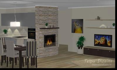 Virtuves un Viesistabas 3D Vizualizācija Privātmājai, Rīgā