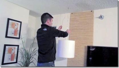 kā pievienot griestu lampu bez elektrības izvada