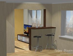 3D vizualizācija un mēbeļu risinājums viesistabai