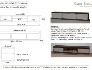 tehniskā specifikācija TV tumbai viesistabā